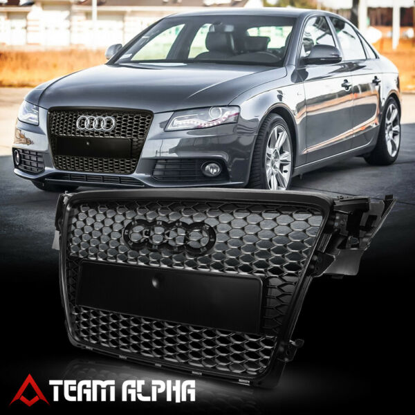 Matte Black ABS Honeycomb Mesh Grille/Grill fits 08-11 Audi A4/Quattro Typ 8K