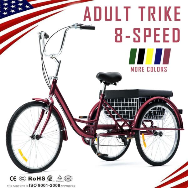 26quot; 24quot; 20quot; 8 Speed Adult Tricycle Trike Cruise 3 Wheel Bike with Large Basket