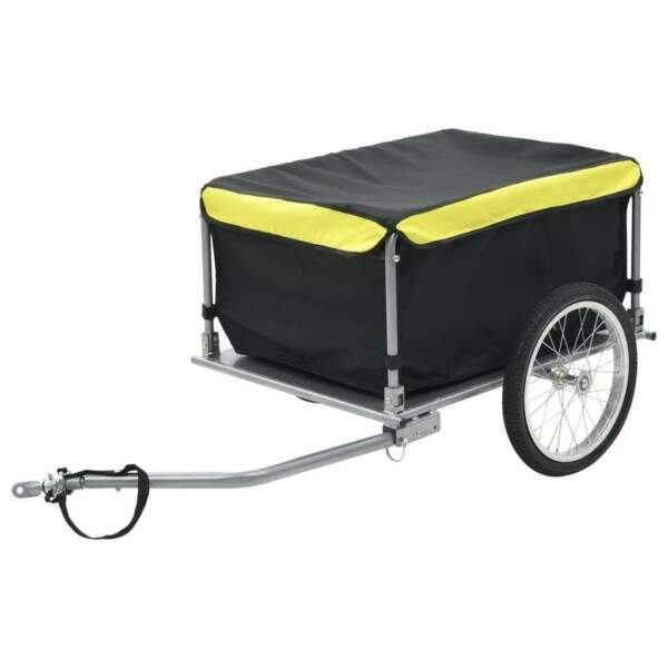 vidaXL Bike Cargo Trailer Black and Yellow 143.3 Pound Cart Wheel Carrier $142.99