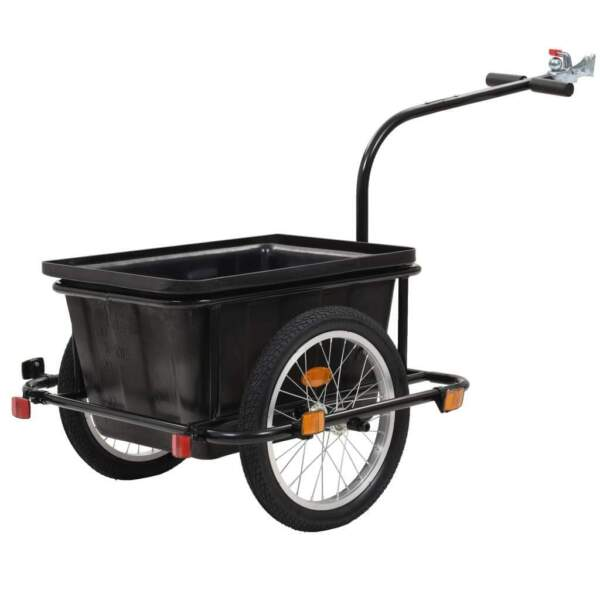 vidaXL Bike Cargo Trailer Spacious Black 52.8 Quart Cart Wheel Carrier Runner $106.99