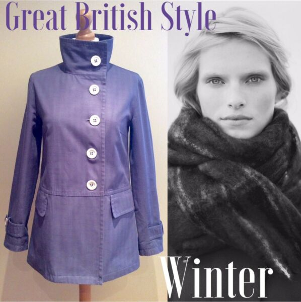 TOAST COAT JACKET  SIZE 8  BLUE COTTON BUTTON