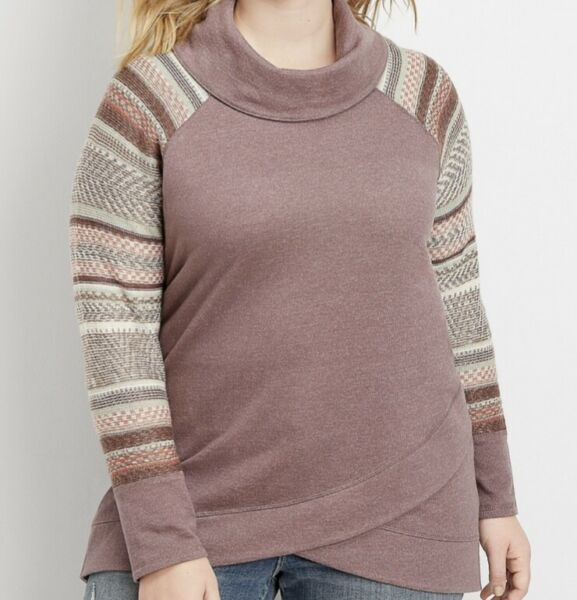 NWT Maurices Plus Sweater Sleeve Cowl Neck Pullover in S'sparilla Sz 4 Orig $44 $20.39
