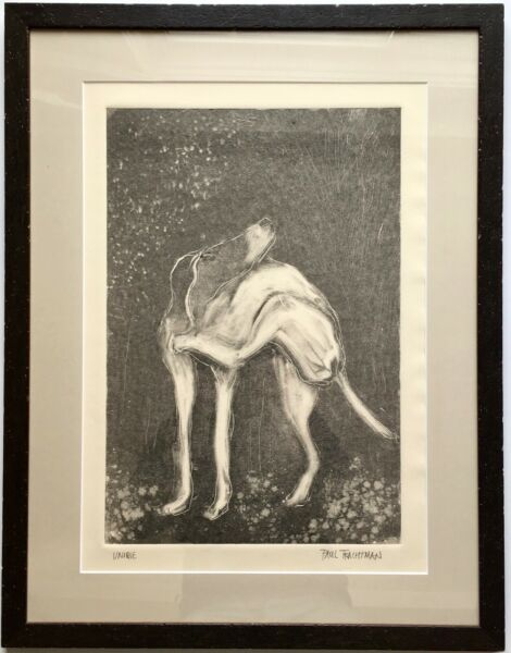 """Paul Trachtman Monotype Print Dog """"Unique"""" New Mexico Signed Handwritten Letter $750.00"""