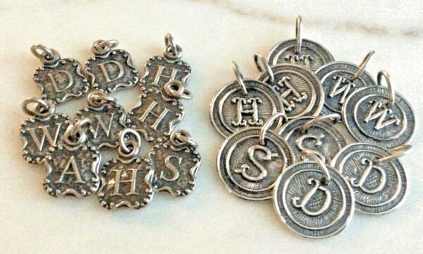 New Vintage Sterling Silver RoundHammered Initial Alphabet Letter Charm