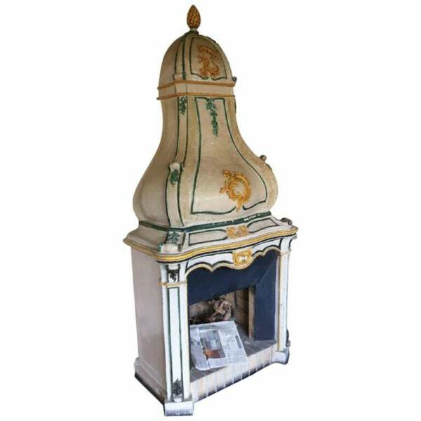 19th Century Italian Hand Painted Majolica Large antique Fireplace Mantle