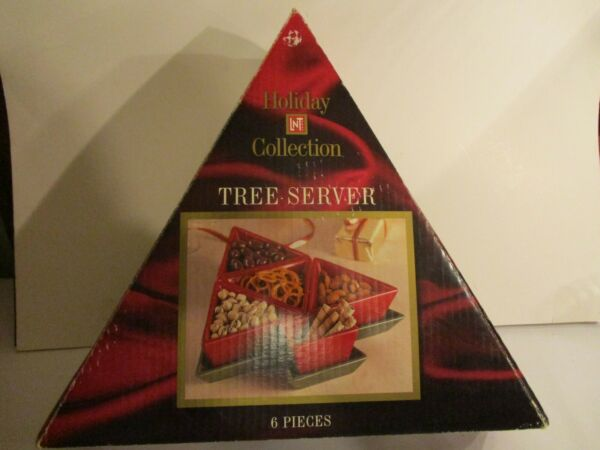 VTG 6 PIECE HOLIDAY COLLECTION TREE SERVER CERAMIC GREEN TREE W RED DISHES AP $15.95