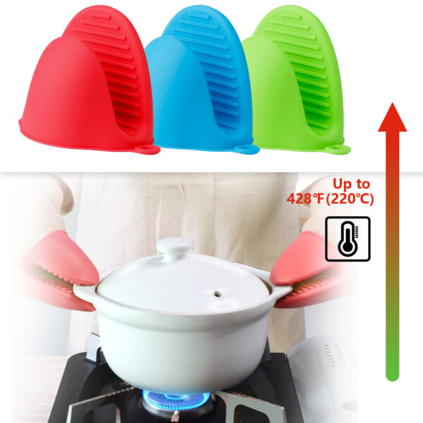 Pair Mini Oven Mitts Heat Resistant Gloves Pot Holder Cooking BBQ Kitchen Baking