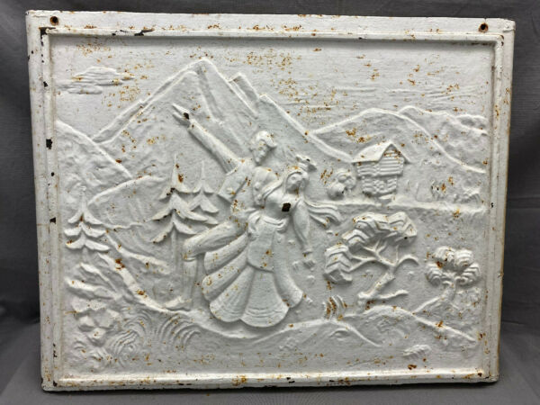 Vintage Cast Iron Fireplace Cover Embossed Dancing Couple Mountains Trees Cabin