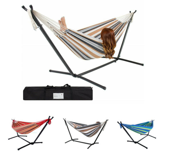 New Double Hammock With Space Saving Steel Stand Includes Carrying Case $84.99