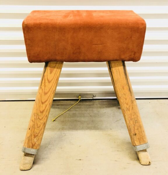 Vtg. Suede Leather Covered Pommel Horse Bench Table Extends to H. 46 12 Inches