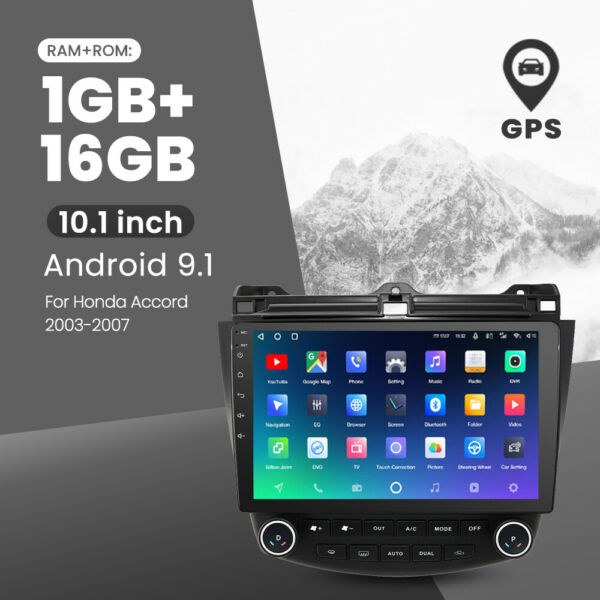 Multi function 10.1#x27;#x27; Android 9.1 Car Stereo Radio GPS For Honda Accord 03 2007