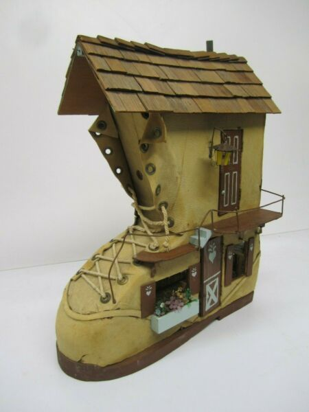 Vtg Old Woman Lived in Shoe Homemade Boot Lighted Doll House&Furniture Folk Art $422.95