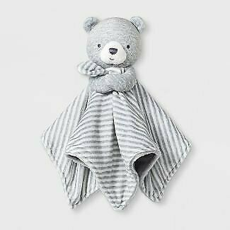 NWT Carters Just One You Grey And White Striped Plush Bear Baby Security Blanket