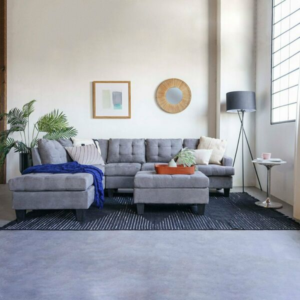 3 Piece Sofa Modern Tufted Grey Reversible L-Shape Sectional Couch with Ottoman $649.99