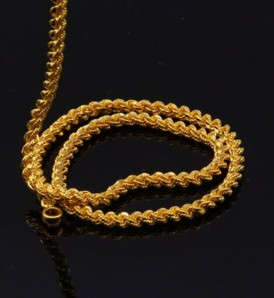 22 K SOLID YELLOW GOLD HANDMADE TWISTED ROPE CHAIN UNISEX MEN'S WOMEN'S GIFTING