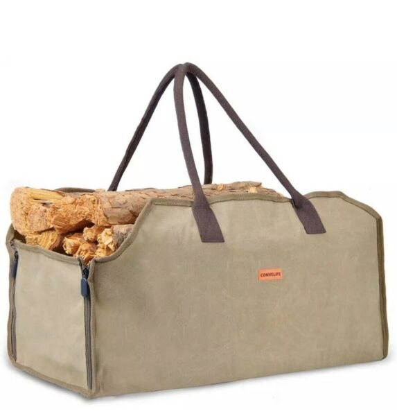 CONVELIFE Waxed Canvas Firewood Log Carrier Tote Wood Carrying Bag for Woodpile