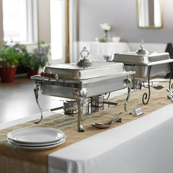 4 Pack Choice Classic 8 Qt. Stainless Steel Full Size Catering Chafing Dishes