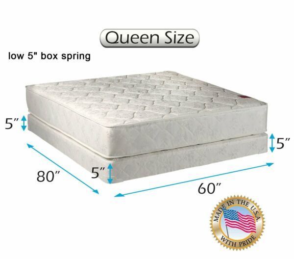 Legacy Orthopedic Queen 2-Sided Mattress and Low 5