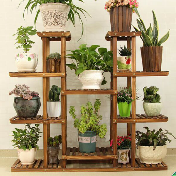 17 Pots XL Large Wood Plant Stand Home Office Use Flower Pot Plant Shelf Outdoor