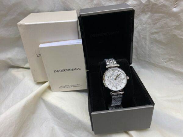 NEW Emporio Armani Womens Watch Crystals White Face Silver Band AR1925 Genuine