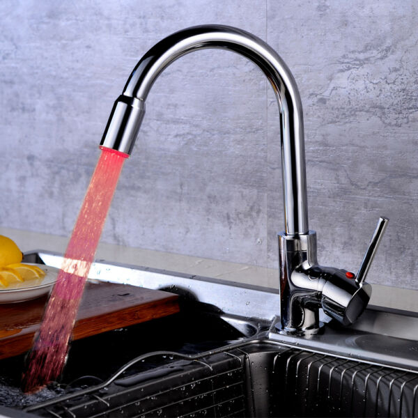 LED Kitchen Faucet Chrome 1 Handle Deck Mount Swivel Spout Mixer Taps Rotatable
