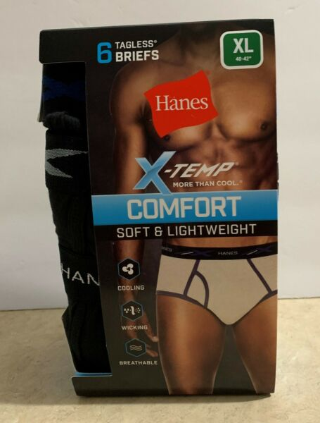 Hanes Men's Briefs Underwear Mid Rise 6 Pair New Size XL 40 42 X-Temp Stretch