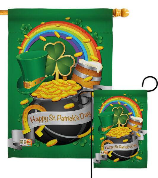 Happy St. Patrick's Day Green clover lucky celtic-Garden House Yard Flag Banner
