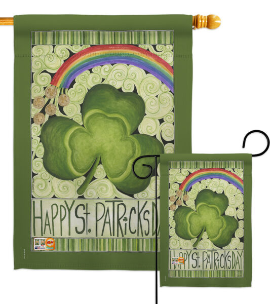 Happy St. Patricks Day Garden Houe Yard Flag Banner