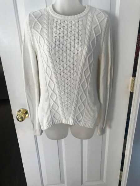 Banana Republic Wool Blend Ivory Chunky Cable Knit Sweater Women's Sz S Bin3T