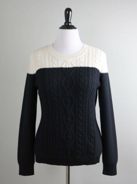 TALBOTS NWT $89 Black & Ivory Color Block Cable Knit Sweater Top Size Large