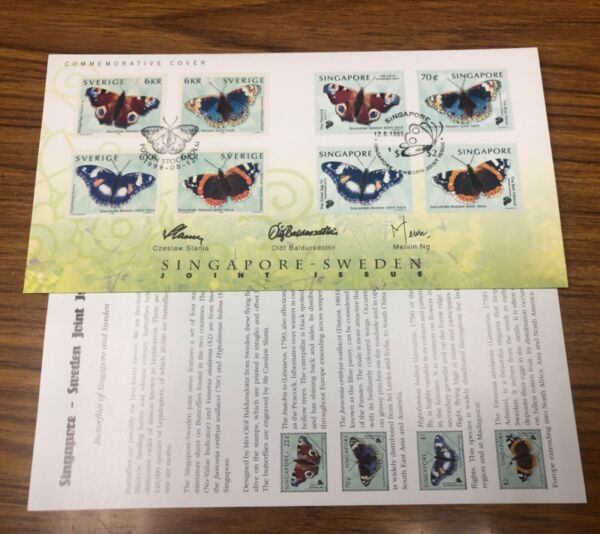 SINGAPORE Sweden1999 Butterfly Joint Issue 2 Country Cover SLANIA FreePostcard $29.90