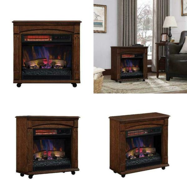 Chimneyfree Rolling Mantel Infrared Quartz Electric Fireplace Space Heater