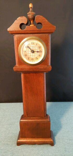 Florn Mantel Size Wooden Grandfather Clock Made in Germany 14 inches Works Runs
