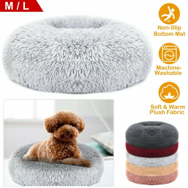 US Donut Cuddler Pet Calming Bed Dog Beds Soft Warmer For Medium Small Dogs Cats $15.59