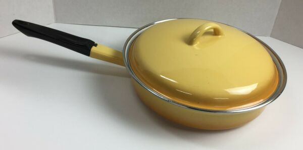 Yellow Enameled Cast Iron Skillet Fry Pan With Cover Gold Flame #20B