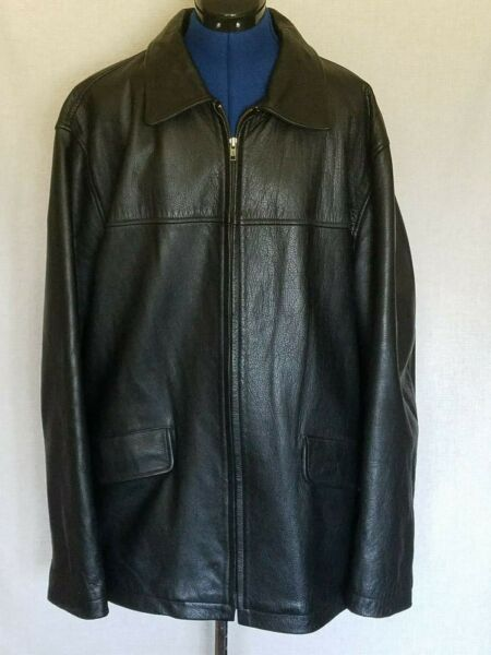 J Crew Mens Coat Sz XL Black Leather Jacket Zip Up Dress Casual Quilted Lined