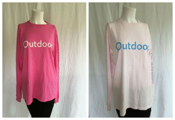 Women's Long Sleeve Outdoor Voices T Shirt Pink and Hot Pink