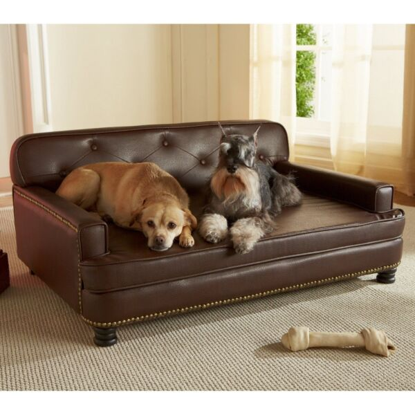 Large Dog Bed Foam Library Sofa Couch Pet Furniture Tufted Faux Leather Big Brow $247.99