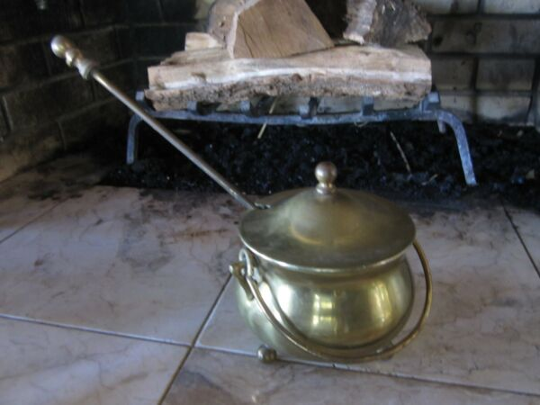 Vintage Brass Fireplace Smudge Pot Fire Starter w Lid & Pumice Wand