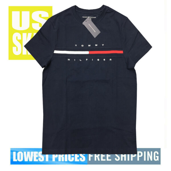 Tommy Men#x27;s NWT 100% Cotton Stripe Chest COR DARK NAVY T Shirt XS Free Ship $22.99