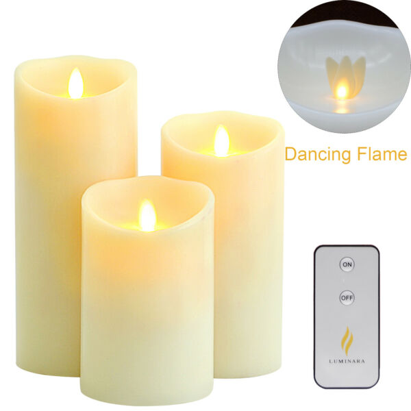 Luminara Dancing Wick Flameless Led Candle Real Wax Scented for Home Set 5quot;7quot;9quot; $51.00