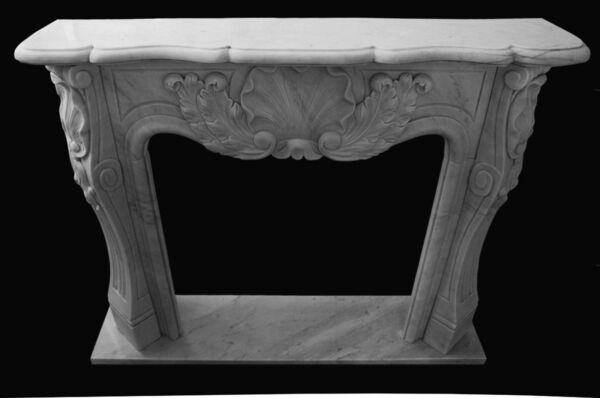 Fireplace White Marble Louis XVI Old Fireplace Handmade Vintage Design