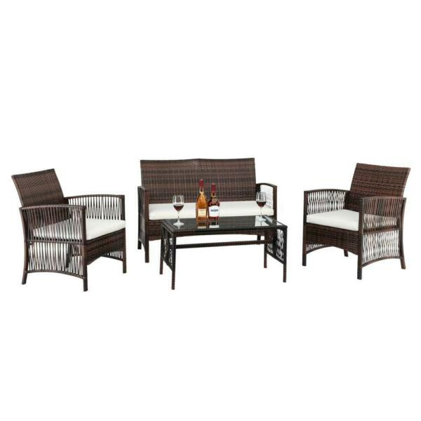 Sofa sets 4 PC Outdoor Patio Furniture Sets Rattan Chair Backyard Porch Wicker $159.90