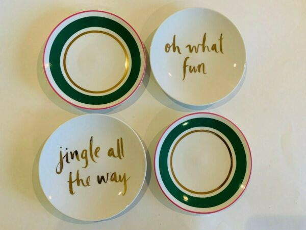 Lenox Kate Spade Christmas Arbor Village Set of 4 Tidbit Appetizer Plates