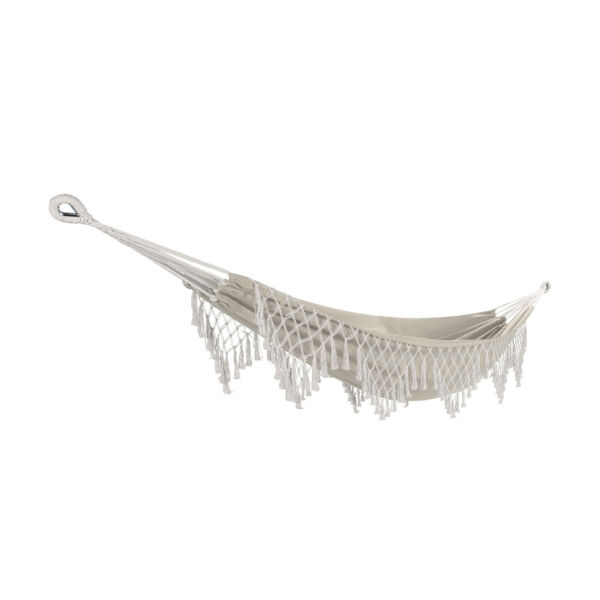 Bliss Hammocks Heavy Duty Hammock in a Bag Fabric with fringes portable white