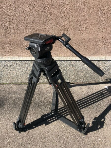 Sachtler System Video 18P Fluid Head Tripod Spreader Pan Handle Case Plate 16