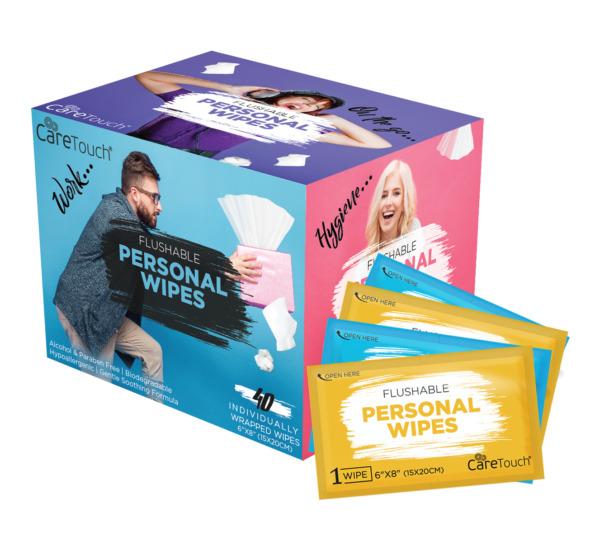 Care Touch Flushable Personal Wipes for Men & Women - 40 Individual Wet Wipes