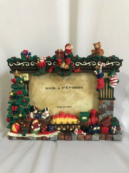 Christmas Toys Around Fireplace Heavy 5quot; x 7quot; 3D Picture Frame
