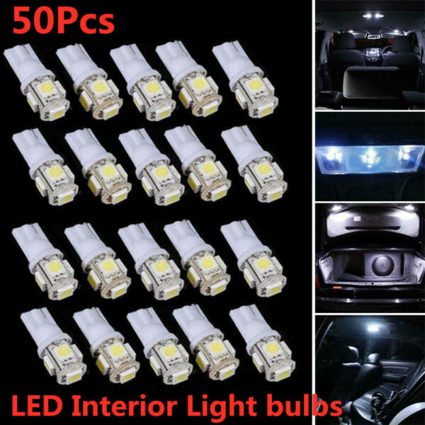 50x LED Bulbs T10 5050 5SMD White 6000K Clearance Cab Marker interior Light lamp