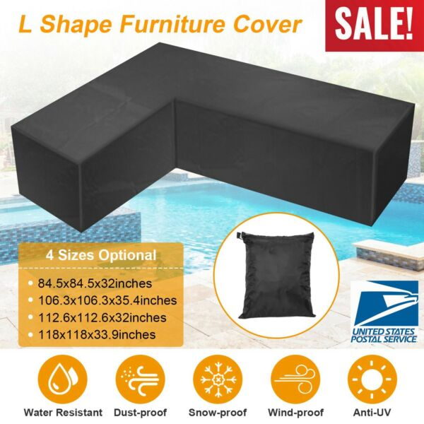 Waterproof Furniture Cover L Shape Patio Corner Outdoor Garden Sofa Protect New $23.98